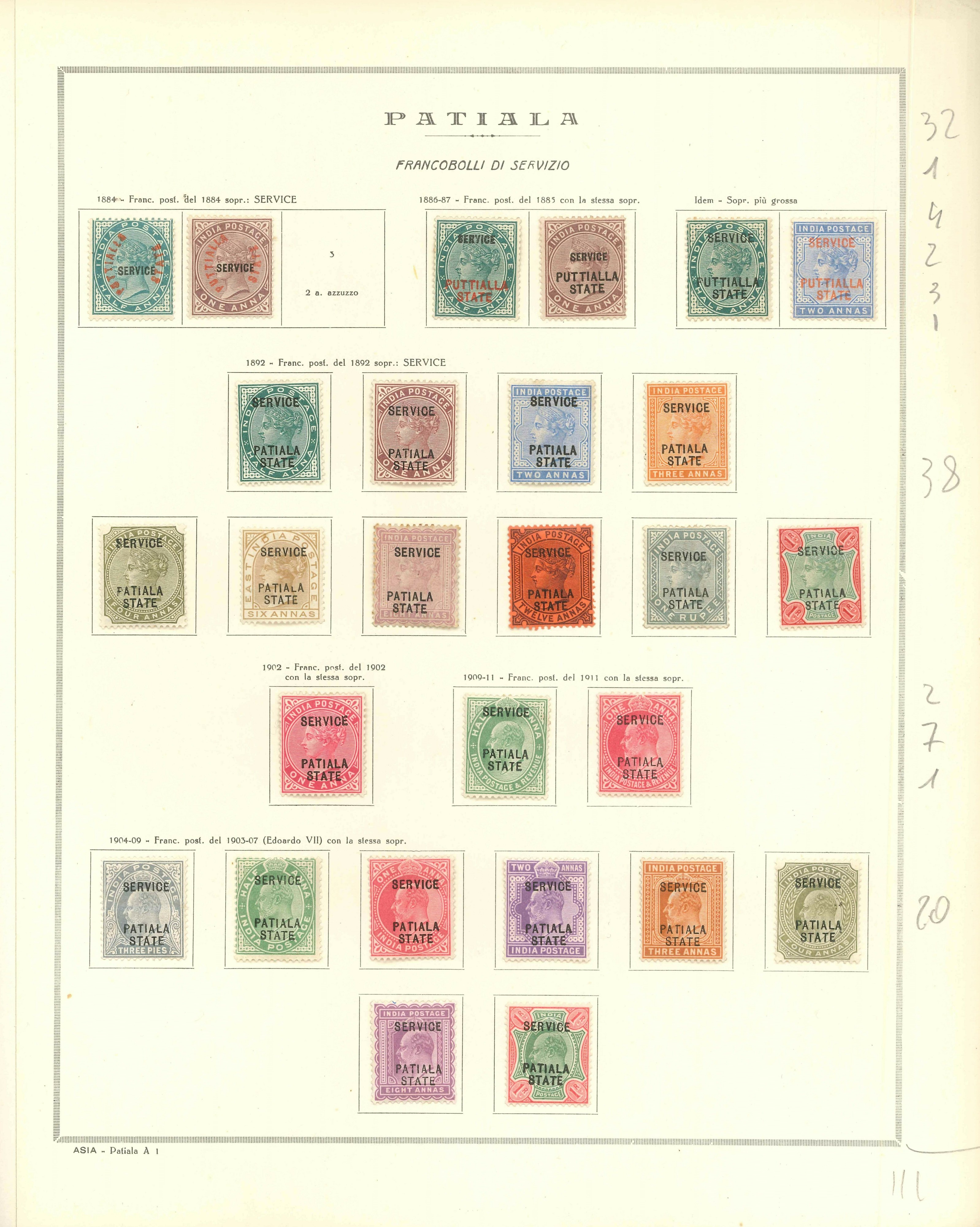 Lot 2281 - india convention states Lots & Collections -  Ponte Auction House Stamps Auction 505
