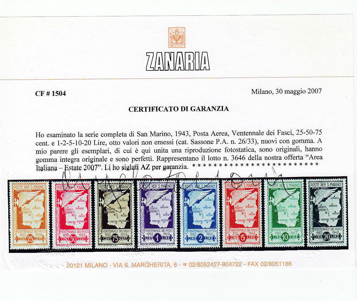 Lot 2459 - San Marino Individual lots -  Ponte Auction House Stamps Auction 505